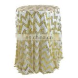 gold chevron sequin fabric 108 inch round coffee tablecloth polyester