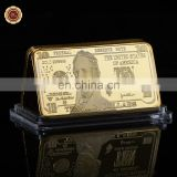 WR US 10 Dollar 1 OZ Gold Bar American Bill Banknote Collectable Gold Bar Metal coins for Home Collection
