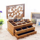 Carving lid finished luxury wood drawer boxes with compartments, wooden display divider boxes