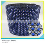 Wholesale Plastic Rhinestone Mesh Net Black Base with Silver & Royal Blue Rhinestone