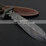 "udk h111"" custom handmade Damascus hunting knife / Bowie knife with Buffalo horn handle"