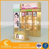 Wooden fashion cosmetic shop showcase design , Cosmetic display cabinet with mall kiosk furniture