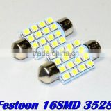 36mm 39mm 41mm 31mm 3528 SMD 16 LED Super White Festoon Dome SMD3528 Auto Car Bulb Lamp Light Free Shipping