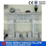 indoor flower carved pillar cream travertine stone freestanding french fireplace mantels