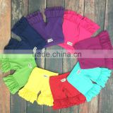 Solid color kids shorts fashion style wholesale cotton short shorts high quality ruffled shorties baby