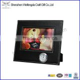 custom black picture frame unique design leather desk clock promotion 4x6