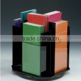 8-Pocket Acrylic Literature Holder for Tabletop, Rotating, Fits 4x9 Pamphlets - Black(LH-B-0187)