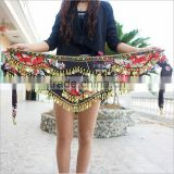 Dance Wear Training Clothing Tribal Hip Scarf Gold Coins Colorful Rhinestone Adjustable Fit Velvet Belly Dance Belt Wrap