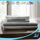 Simple&Opulence 100% Pure Linen Sheet Set Washed King Embroidery Grey (1 Flat Sheet,1 Fitted Sheet,2 Pillowcases)