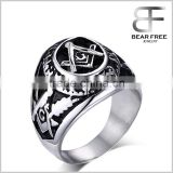Mens Stainless Steel Freemason Masonic Championship Ring Color Black Silver