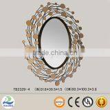 high quality glittering decorative mirror round frame silver glass