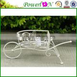 Antique White Vintage Metal Handcart Garden Planter Holder With Wheel For Home Decoration Patio Outdoor TS05 G00 X00 PL08-5831