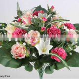 42cm Artificial Rose/ Lily/ Carnation/ Plastic Gypso Bush x24 With 5 Large Leaves
