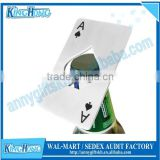 Stainless steel ace of spades poker card bottle opener