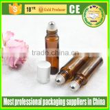 10ml 15ml glass roll on bottle with stainless steel roller ball amber glass roll on bottle
