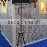 European antique style double pull switch tripod floor lamp with black barrel fabric white lining lamp shade CE ROHS