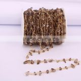 Smoky Quartz Crystal Link Rosary Chain, Fashion Smoky Quartz Chip Beads Wire Wrapped Chain