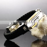 Stainless steel cross design charms leather bangle bracelet