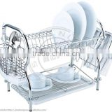 double layers Chrome Plated Dish rack with water saving tray