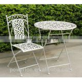 POWERLON Vintage 2 seater patio set wrought iron antirust outdoor table and chairs PL08-5508