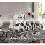 AH062 audi shape design royal stylish rectangular dinning table with stainless steel leg