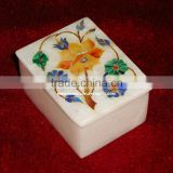Marble Jewellery Box With Inlay Work, Marble Inlay Gift Box, Marble Decorative Inlay Boxes