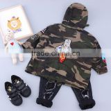 TC16022 2016 army green kids winter clothes kids baby trench coat new style jackets winter hooded jackets for children wear