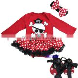 Baby Red Polka Dots Black Ruffles Pirate Long Sleeves Bodysuit Pettiskirt Jumpsuit Headband Crib Shoes 3pcs NB-18M
