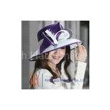 White / Purple Women Formal Kentucky Derby church hats , Diamond Casings Satin Ribbon Hat