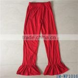 Casual Plus Size Women Clothing Wholesale Ladies Cotton Red Ruffle Pants IM-WP1016