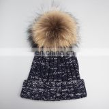 Hot sale acrylic winter knitted beanie real raccoon fur pom pom hats