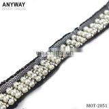decorative rhinestone fabric trim sewed beaded trim for wedding dress