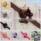 Children hair bow lovely ribbon bow hair bowknot embroidery accessories glitter blingbling headbands & pearls MY-BA0003