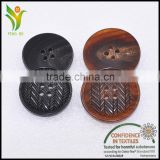 natural engrave customer brand cow bull horn button for suit                                                                         Quality Choice