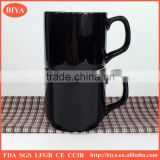 cup coffee black and white porcelain ceramic coffee mug Stacked Cup tea cup for promotion