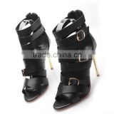 Black Leather Women High Heel Summer Sandals Shoes, Head Designer Open Toe Buckle Pumps Women Sandals