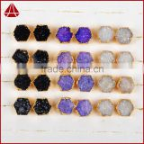 Dyed color fancy shape agate drusy druzy stone stud earrings
