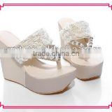 summer fashion design flip flop wedge heel lady sandals slipper