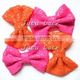 Hot selling big sparkle sequin fabric hair bowknots headband accessory,bow for clothes/clips/head wraps