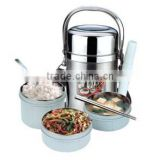 stainless steel 3 layers collapsible thermos lunch boxes with fork and chopstick                                                                         Quality Choice