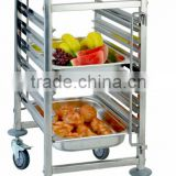 Update International stainless steel mobile Catering Rack trolley pan cart
