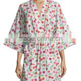 Wholesale Cheap Lovely Sweet Womens Cherry Printed Cotton Spandex Jersey Kimono Short Robe