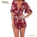 Red butterfly sleeve sexy deep v neck short women jumpsuits and rompers                                                                         Quality Choice