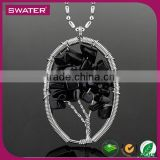 New Machine 2016 Gemstone Leaf Black Bead Long Chain Necklace
