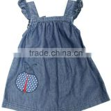 Lovely girls fashion sleeveless embroidery denim dress girls soft blue denim long skirts factory price