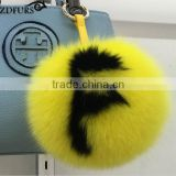 fox fur pom pom keychains handmade 15cm fox fur ball keychains bag charm pluffy bug capital letter with logo