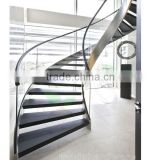 wood step glass rails curved Staircase with stainless steel stringer and glass railing