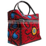 RTHHBC-31 Indian Suzani Embroidery Tote Bags Red Color Suzani Embroidered Shoulder Ladies Bags Jaipur Manufacturer