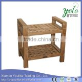 Natural Finish Bamboo Shower Stool with Arms and Shelf