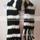 Classical Black and white stripe knitting scarf knitted pocket scarf